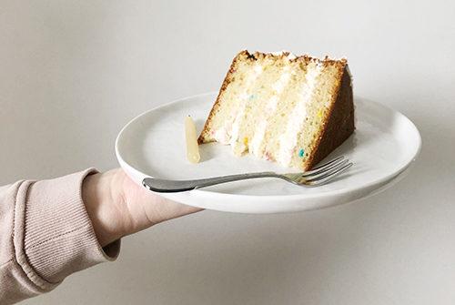 birthday cake on white plate