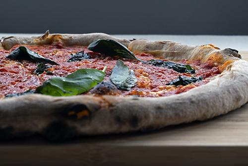 close up of a sourdough pizza crust