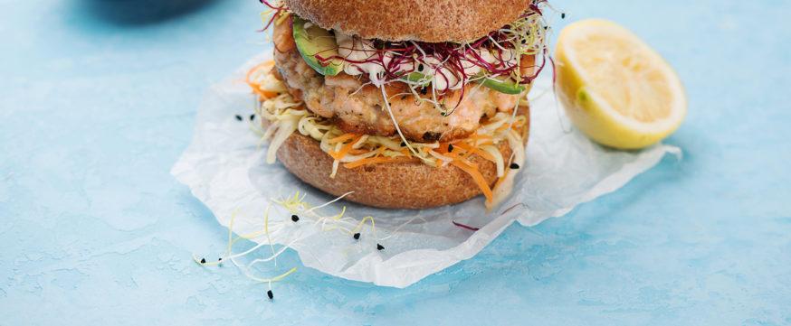 Burger with salmon and avocado